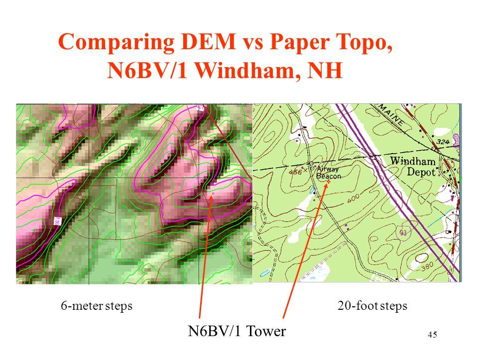 45 Comparing DEM vs Paper Topo, N6BV/1 Windham, NH N6BV/1 Tower 20-foot steps6-meter steps