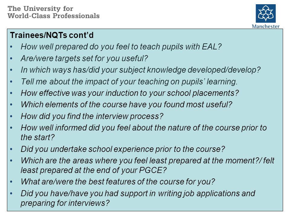 Trainees/NQTs cont'd How well prepared do you feel to teach pupils with EAL.