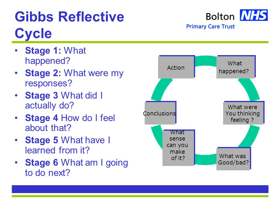 Gibbs Reflective Cycle Stage 1: What happened. Stage 2: What were my responses.