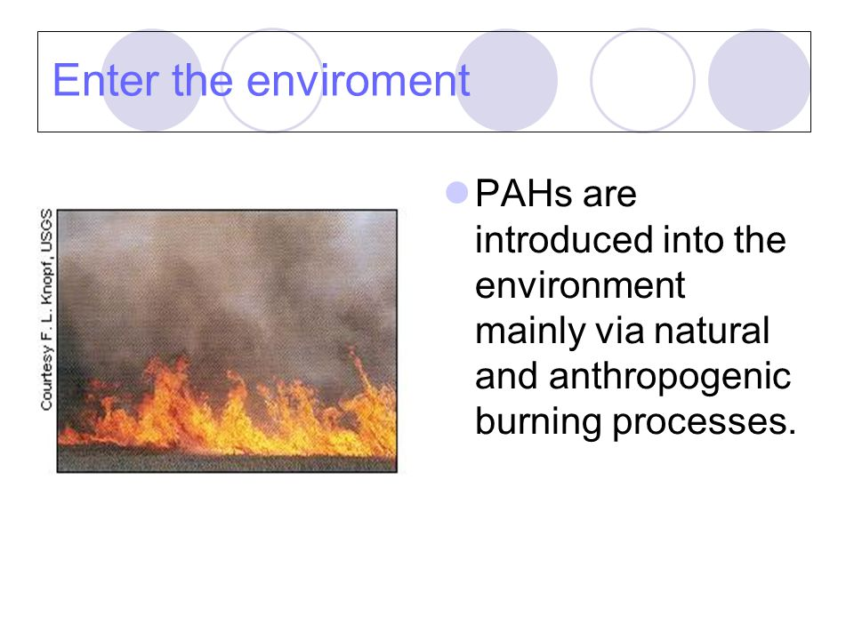 Enter the enviroment - Air PAHs enter air as releases from volcanoes, forest fires, residental wood burning and exhausts from cars.