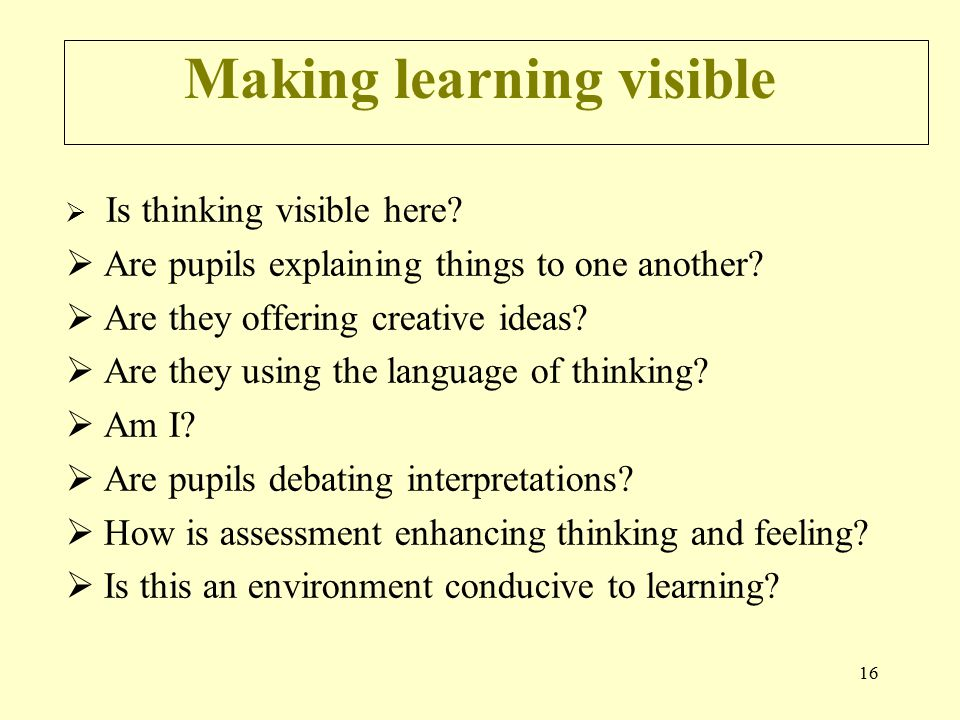 16 Making learning visible  Is thinking visible here.