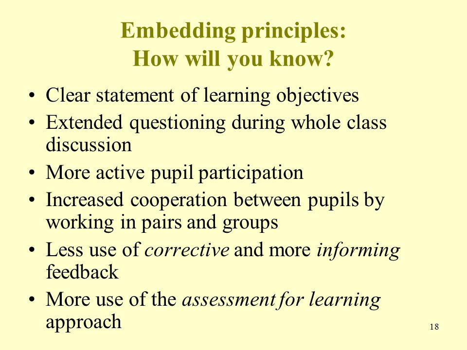 18 Embedding principles: How will you know.
