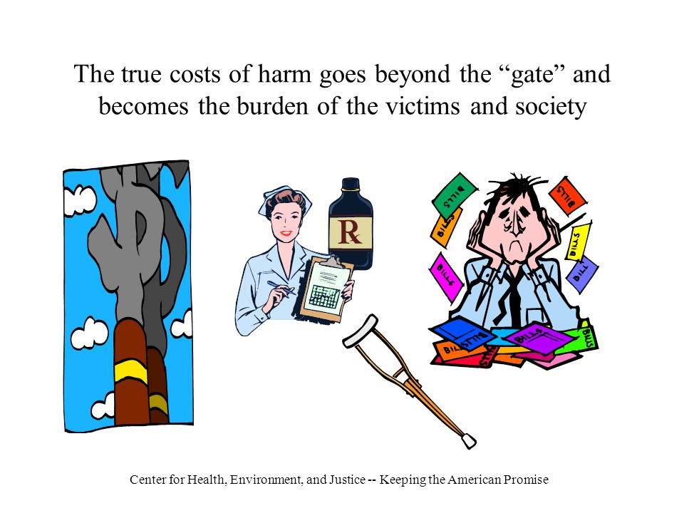 Center for Health, Environment, and Justice -- Keeping the American Promise The true costs of harm goes beyond the gate and becomes the burden of the victims and society