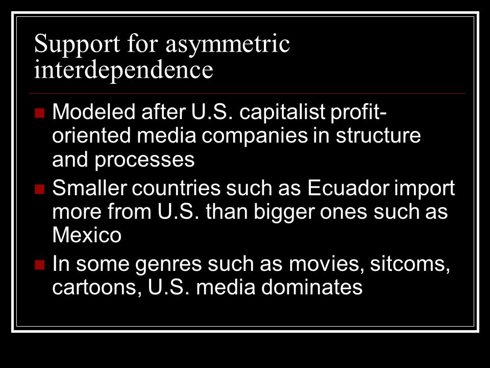 Support for asymmetric interdependence Modeled after U.S.