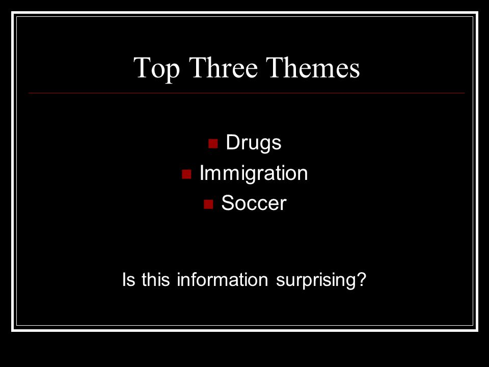 Top Three Themes Drugs Immigration Soccer Is this information surprising