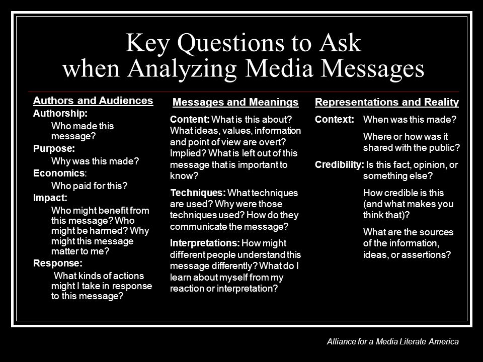Key Questions to Ask when Analyzing Media Messages Authors and Audiences Authorship: Who made this message.