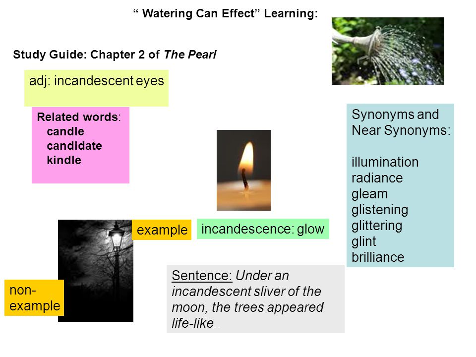 Watering Can Effect Learning: Study Guide: Chapter 2 of The Pearl incandescence: glow adj: incandescent eyes Related words: candle candidate kindle Sentence: Under an incandescent sliver of the moon, the trees appeared life-like..