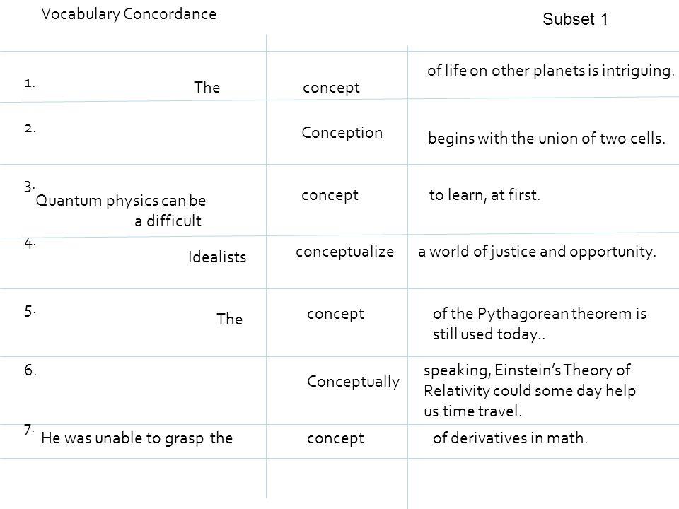 Vocabulary Concordance 1.7. 6. 4. 5. 2. 3.
