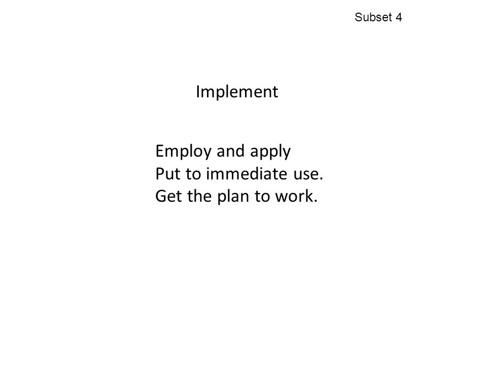 Implement Employ and apply Put to immediate use. Get the plan to work. Subset 4