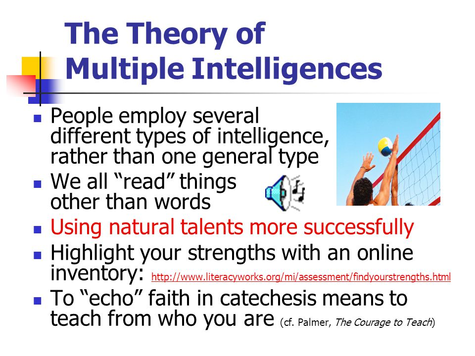The Theory of Multiple Intelligences People employ several different types of intelligence, rather than one general type We all read things other than words Using natural talents more successfully Highlight your strengths with an online inventory: http://www.literacyworks.org/mi/assessment/findyourstrengths.html http://www.literacyworks.org/mi/assessment/findyourstrengths.html To echo faith in catechesis means to teach from who you are (cf.
