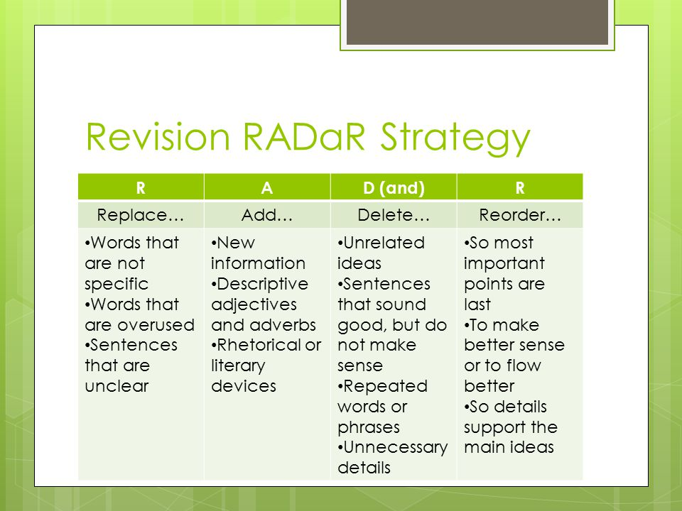 Revision RADaR Strategy RAD (and)R Replace…Add…Delete…Reorder… Words that are not specific Words that are overused Sentences that are unclear New information Descriptive adjectives and adverbs Rhetorical or literary devices Unrelated ideas Sentences that sound good, but do not make sense Repeated words or phrases Unnecessary details So most important points are last To make better sense or to flow better So details support the main ideas