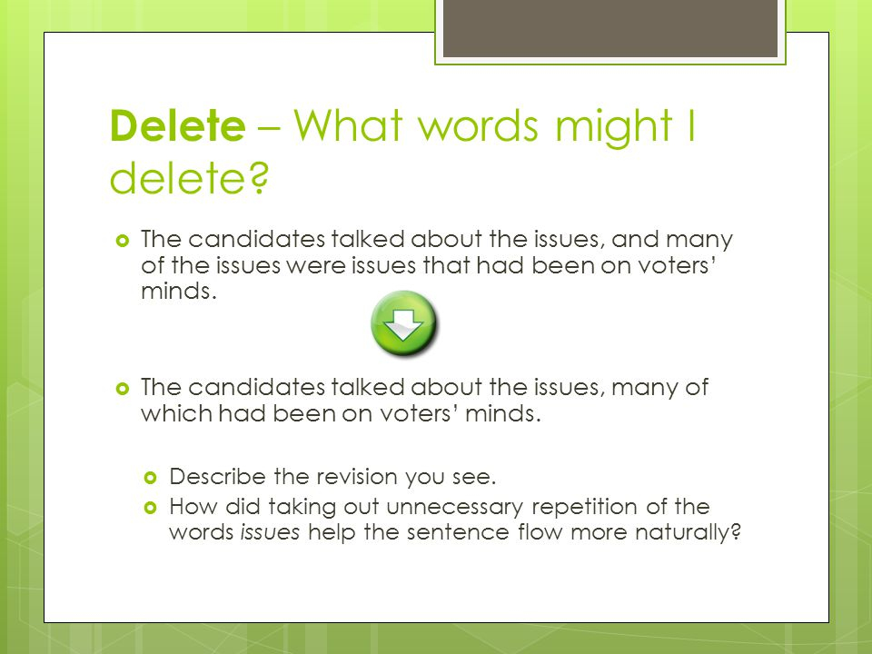 Delete – What words might I delete?  The candidates talked about the issues, and many of the issues were issues that had been on voters' minds.  The