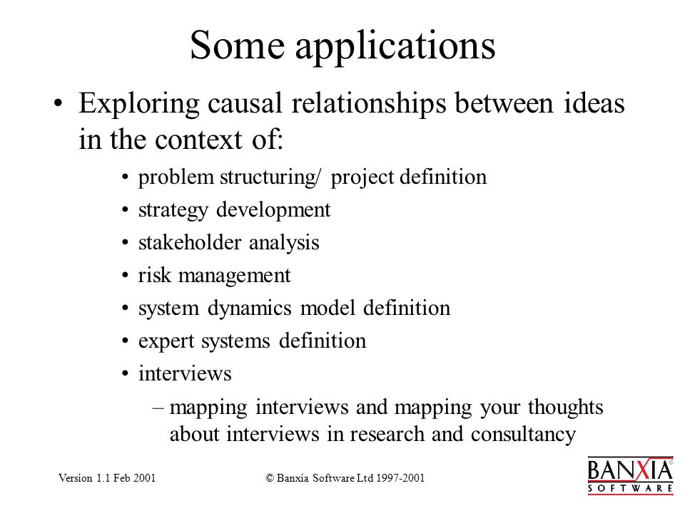 Version 1.1 Feb 2001© Banxia Software Ltd 1997-2001 Some applications Exploring causal relationships between ideas in the context of: problem structuring/ project definition strategy development stakeholder analysis risk management system dynamics model definition expert systems definition interviews –mapping interviews and mapping your thoughts about interviews in research and consultancy