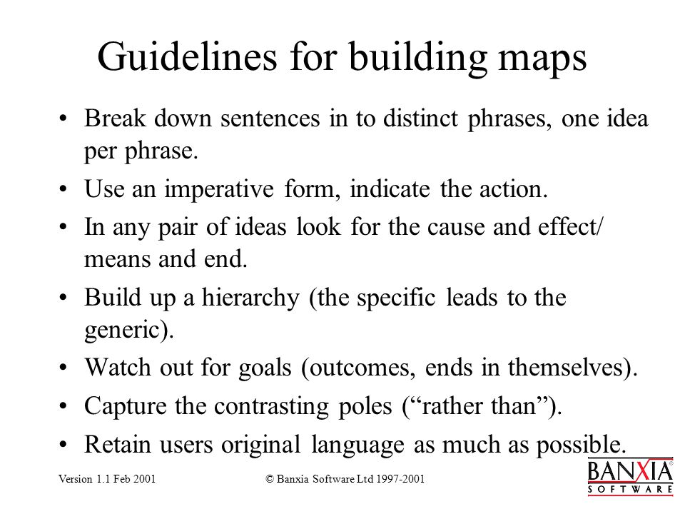 Version 1.1 Feb 2001© Banxia Software Ltd 1997-2001 Guidelines for building maps Break down sentences in to distinct phrases, one idea per phrase.
