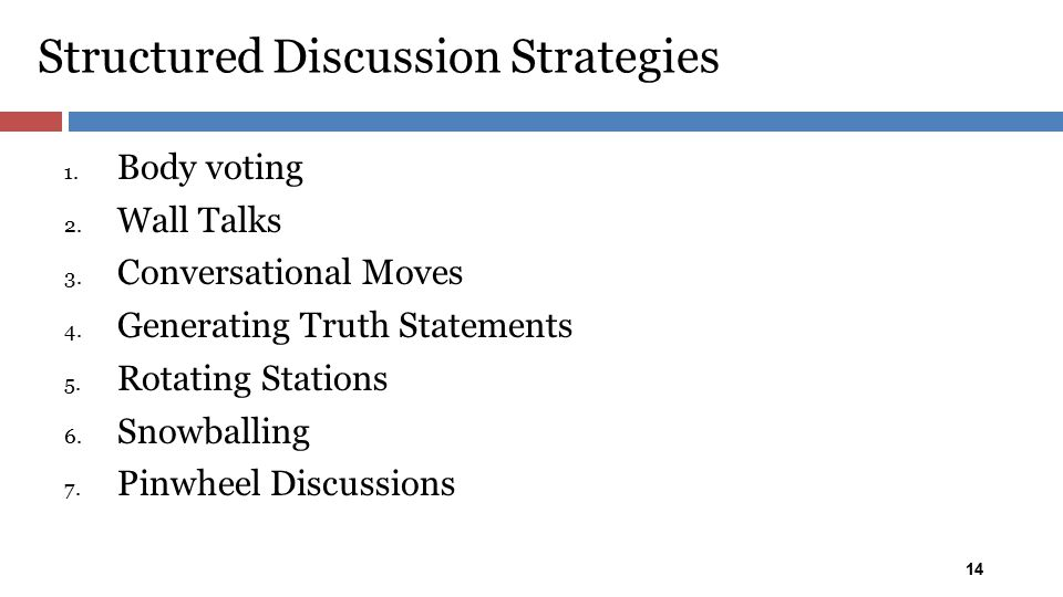 Structured Discussion Strategies 14 1. Body voting 2. Wall Talks 3. Conversational Moves 4. Generating Truth Statements 5. Rotating Stations 6. Snowba