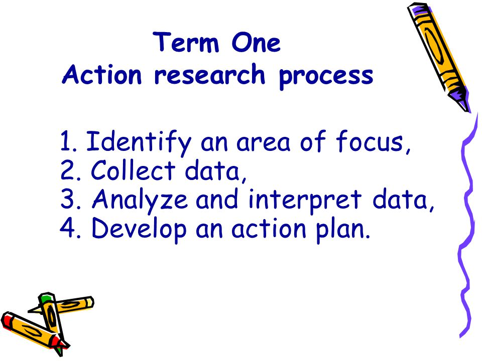 Term One Action research process 1. Identify an area of focus, 2. Collect data, 3. Analyze and interpret data, 4. Develop an action plan.