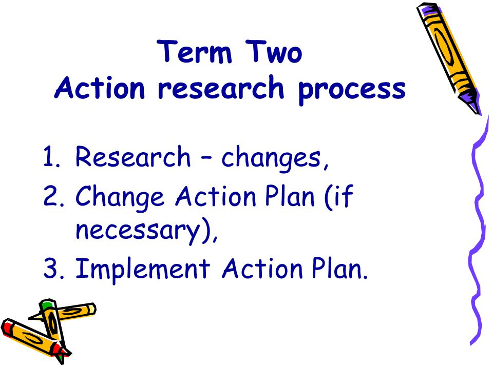 Term Two Action research process 1.Research – changes, 2.Change Action Plan (if necessary), 3.Implement Action Plan.