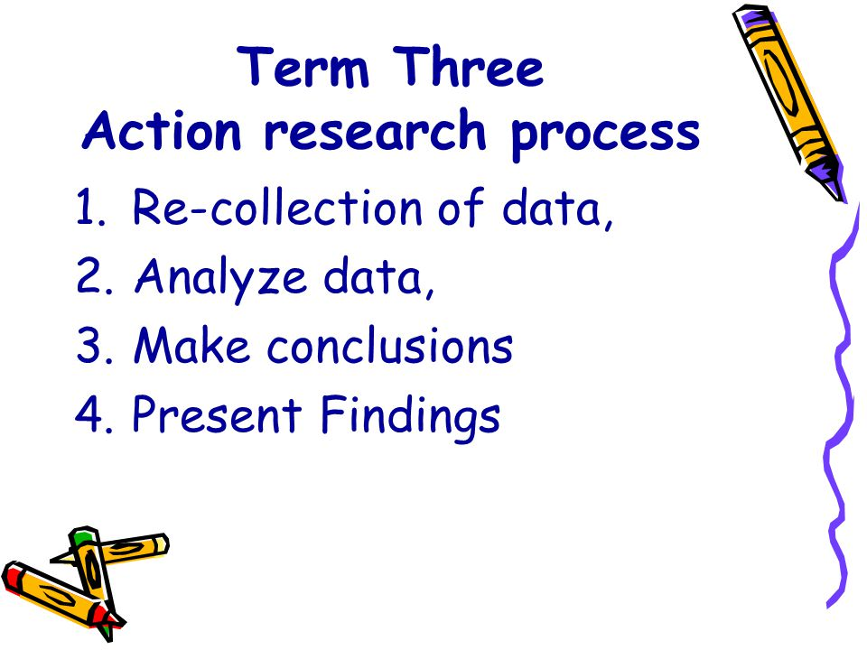 Term Three Action research process 1.Re-collection of data, 2.Analyze data, 3.Make conclusions 4.Present Findings