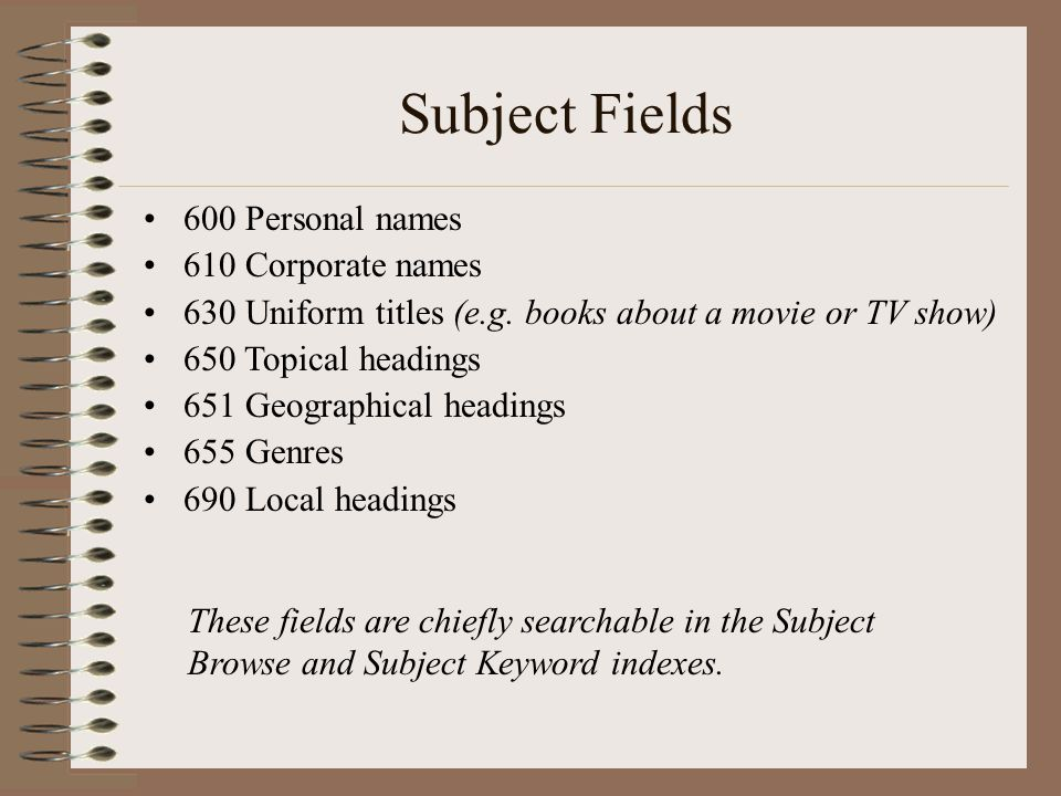 Subject Fields 600 Personal names 610 Corporate names 630 Uniform titles (e.g.