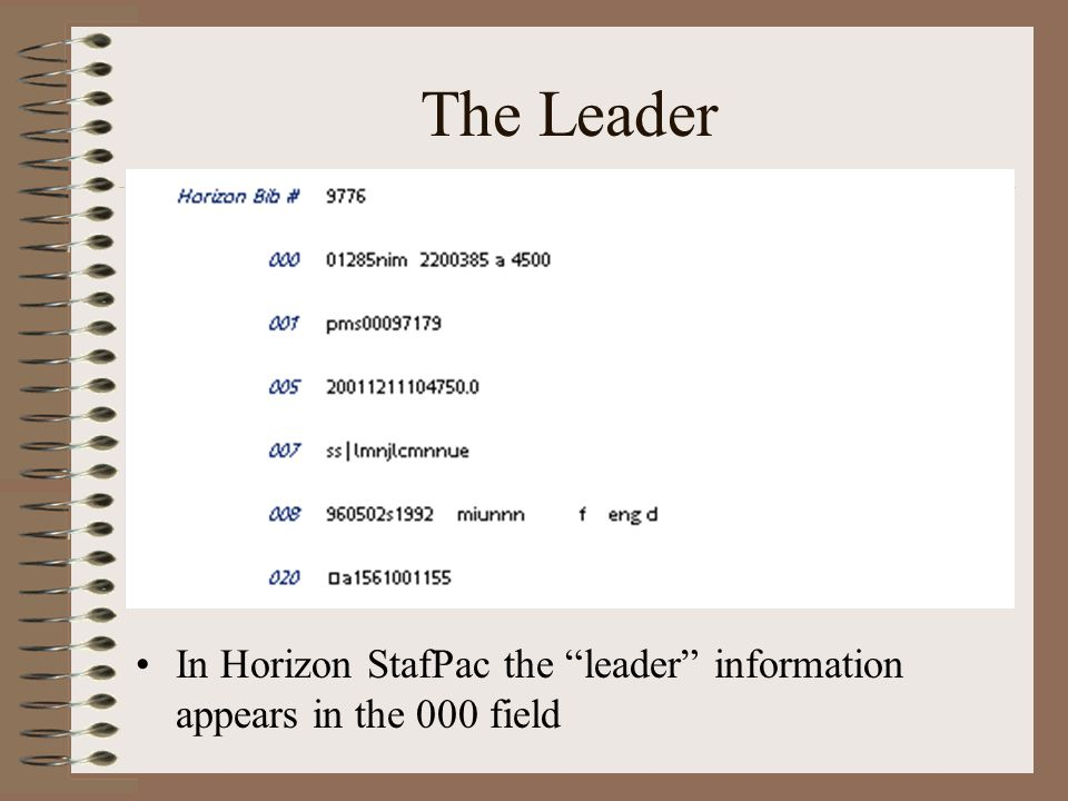 The Leader In Horizon StafPac the leader information appears in the 000 field