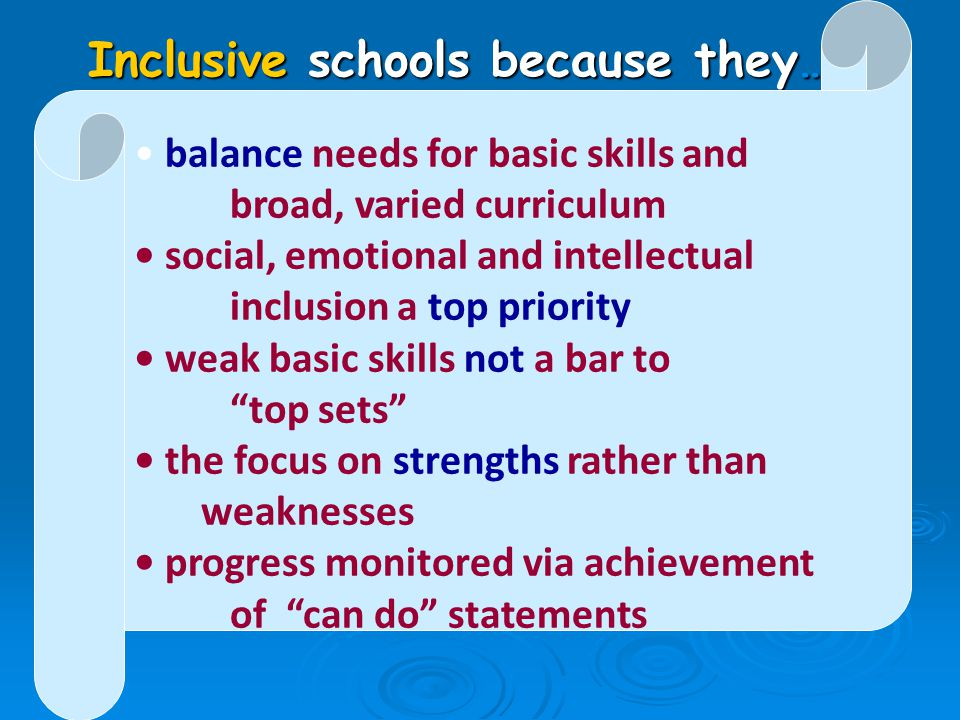 Inclusive schools because they…..