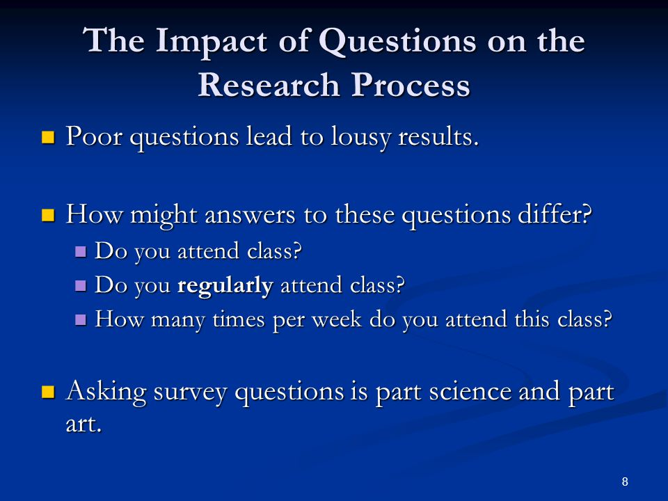 8 The Impact of Questions on the Research Process Poor questions lead to lousy results.