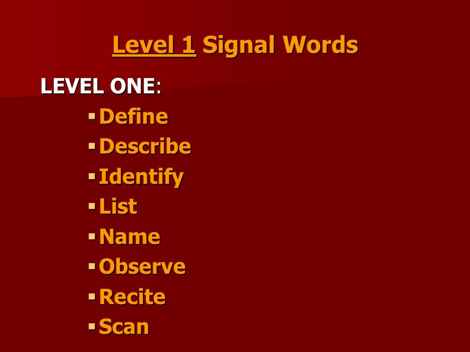 Level 1 Signal Words LEVEL ONE:  Define  Describe  Identify  List  Name  Observe  Recite  Scan