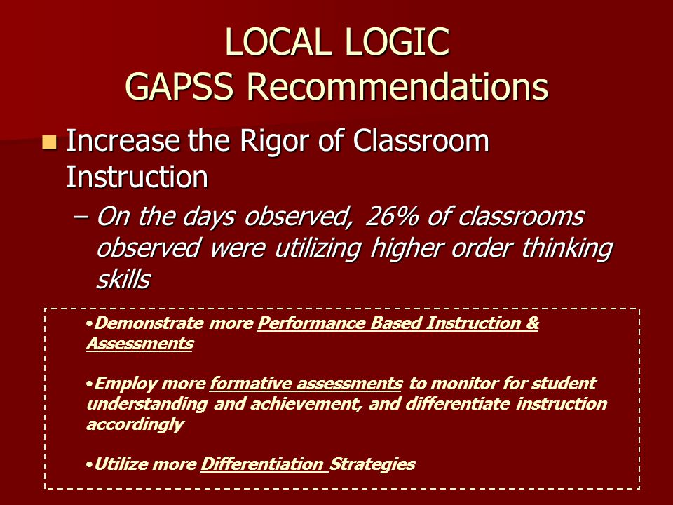LOCAL LOGIC GAPSS Recommendations Increase the Rigor of Classroom Instruction Increase the Rigor of Classroom Instruction –On the days observed, 26% of classrooms observed were utilizing higher order thinking skills Demonstrate more Performance Based Instruction & Assessments Employ more formative assessments to monitor for student understanding and achievement, and differentiate instruction accordingly Utilize more Differentiation Strategies