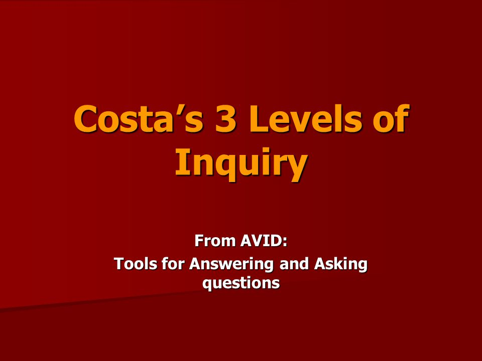 Costa's 3 Levels of Inquiry From AVID: Tools for Answering and Asking questions