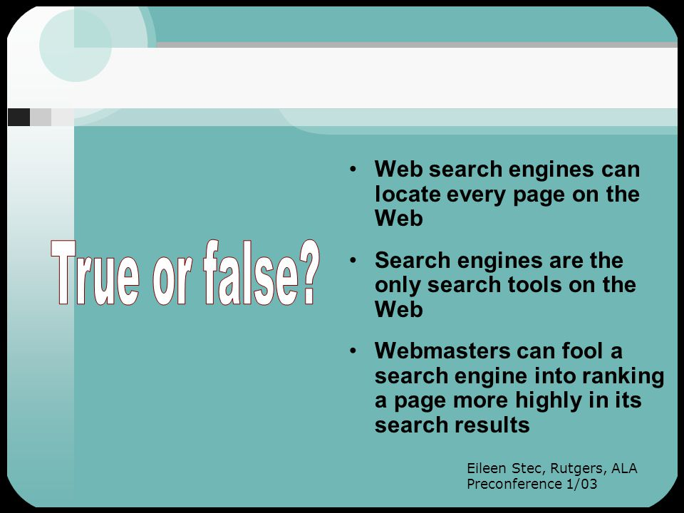 Good searchers also: Use peripheral vision—they mine their results for additional search terms Consult several search tools Make use of advanced search screens Search the free Web and subscription databases Use appropriate syntax (the language specific to the search tool they are using) Use search strategies Modify or refine their searches (Searching is recursive!)