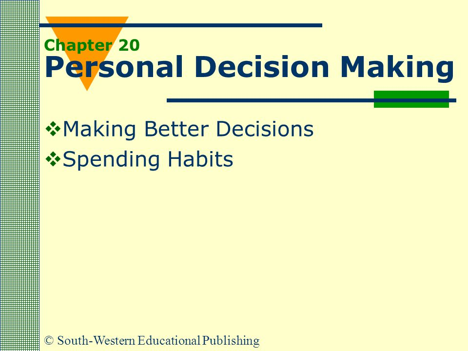 © South-Western Educational Publishing Chapter 20 Personal Decision Making  Making Better Decisions  Spending Habits