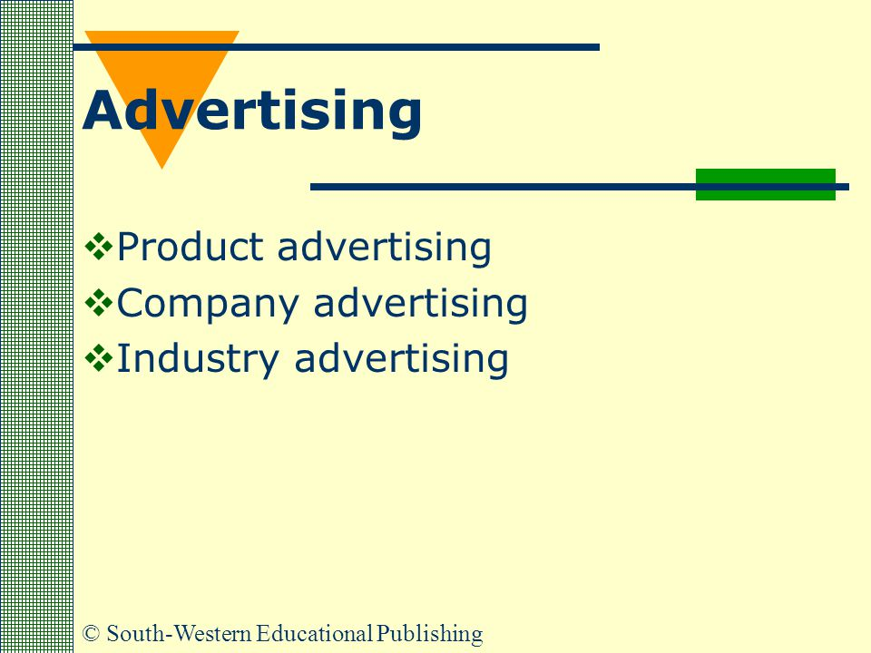 © South-Western Educational Publishing Advertising  Product advertising  Company advertising  Industry advertising