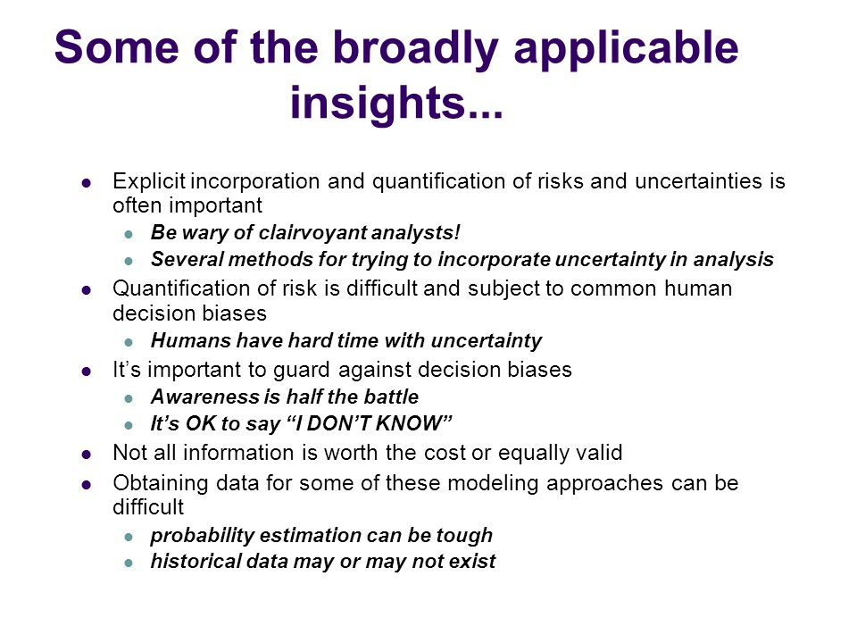 Some of the broadly applicable insights...