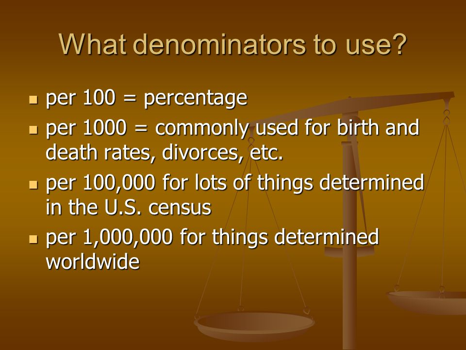 What denominators to use.