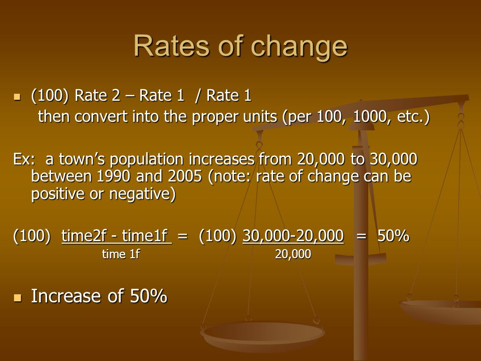 Rates of change (100) Rate 2 – Rate 1 / Rate 1 (100) Rate 2 – Rate 1 / Rate 1 then convert into the proper units (per 100, 1000, etc.) then convert into the proper units (per 100, 1000, etc.) Ex: a town's population increases from 20,000 to 30,000 between 1990 and 2005 (note: rate of change can be positive or negative) (100) time2f - time1f = (100) 30,000-20,000 = 50% time 1f 20,000 time 1f 20,000 Increase of 50% Increase of 50%