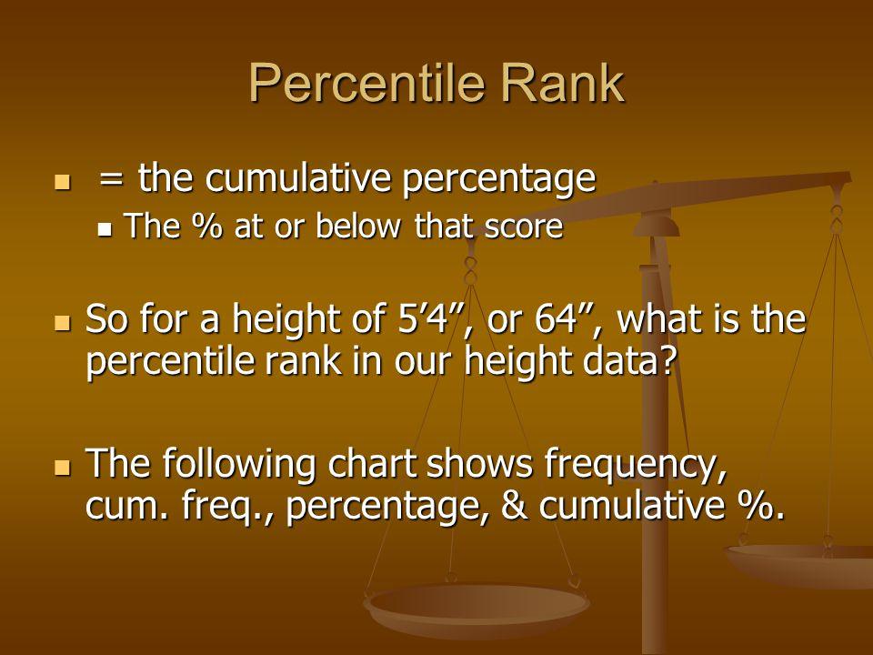 Percentile Rank = the cumulative percentage = the cumulative percentage The % at or below that score The % at or below that score So for a height of 5'4 , or 64 , what is the percentile rank in our height data.