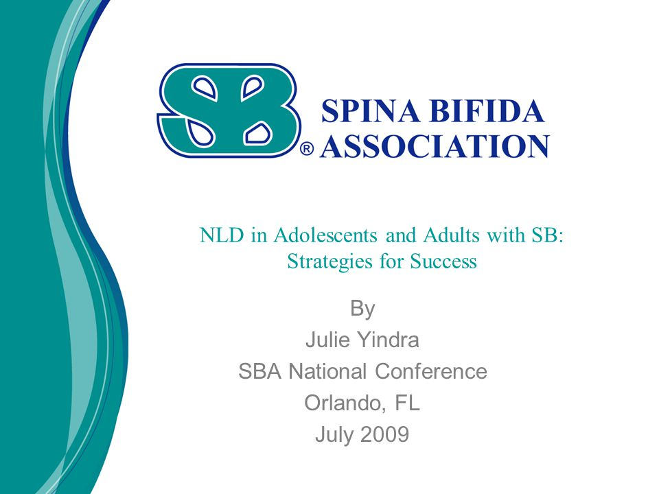 By Julie Yindra SBA National Conference Orlando, FL July 2009 NLD in Adolescents and Adults with SB: Strategies for Success