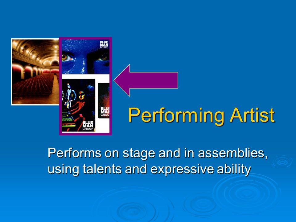 Performing Artist Performs on stage and in assemblies, using talents and expressive ability