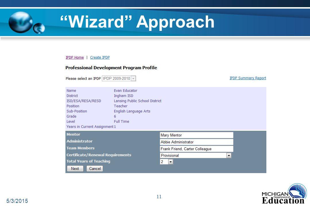 Wizard Approach 5/3/2015 11