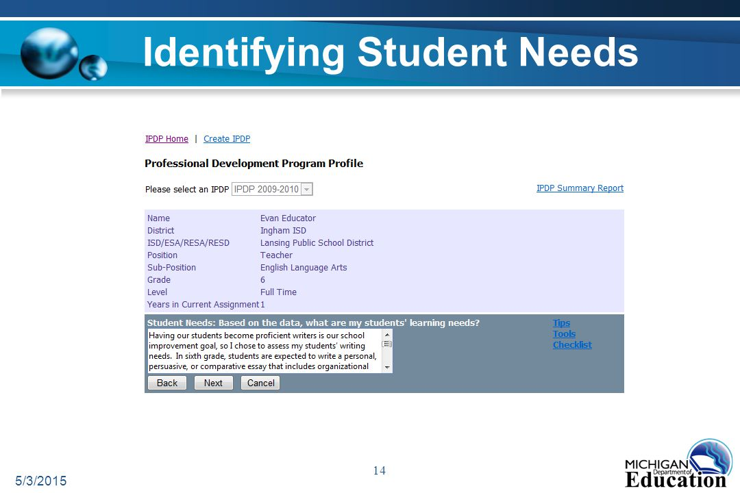 Identifying Student Needs 5/3/2015 14
