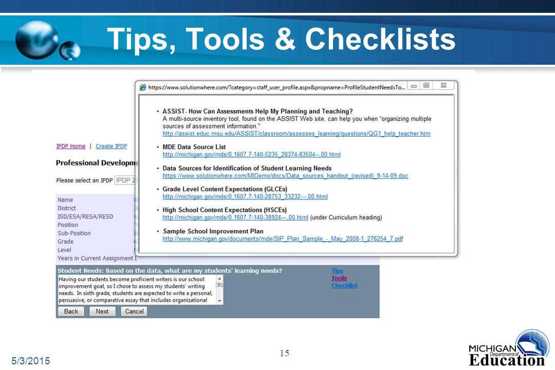Tips, Tools & Checklists 5/3/2015 15