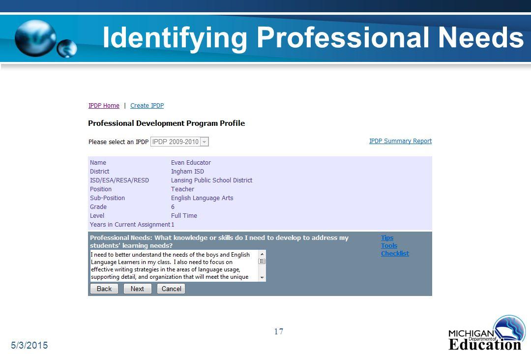 5/3/2015 17 Identifying Professional Needs