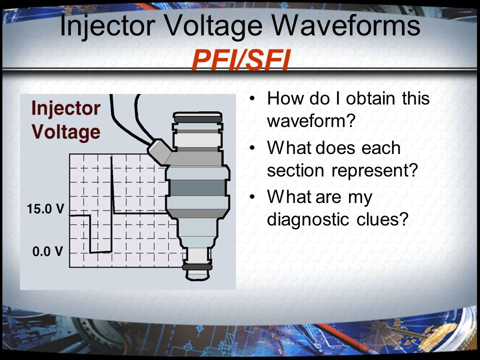 Injector Voltage Waveforms PFI/SFI How do I obtain this waveform? What does each section represent? What are my diagnostic clues?