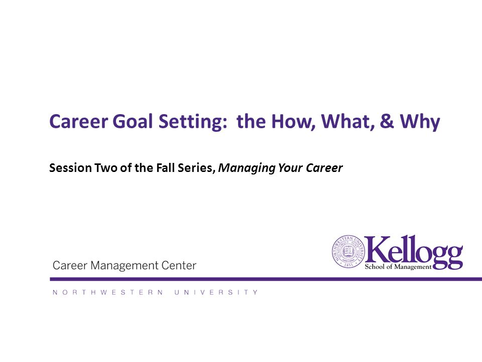 Career Goal Setting: the How, What, & Why Session Two of the Fall Series, Managing Your Career