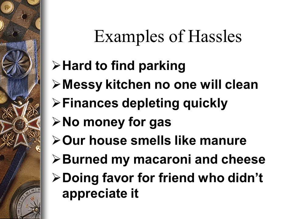 Examples of Hassles  Hard to find parking  Messy kitchen no one will clean  Finances depleting quickly  No money for gas  Our house smells like manure  Burned my macaroni and cheese  Doing favor for friend who didn't appreciate it