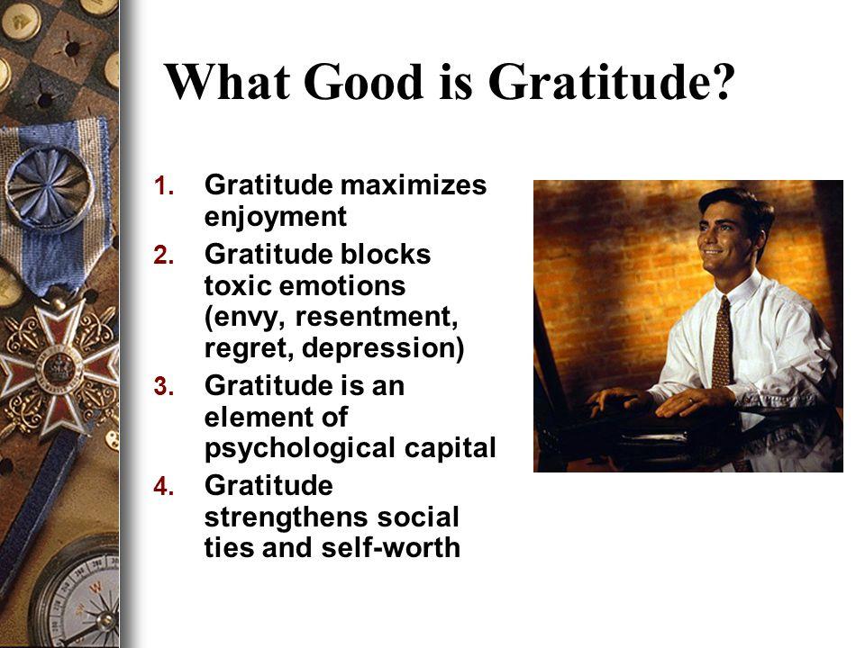 1. Gratitude maximizes enjoyment 2.