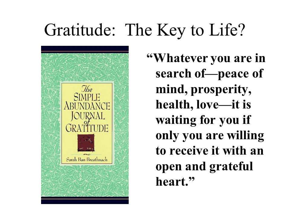 Gratitude: The Key to Life.