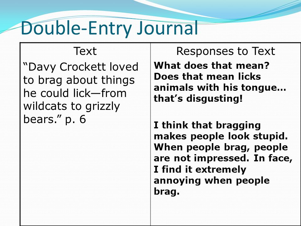 "Double-Entry Journal Text ""Davy Crockett loved to brag about things he could lick—from wildcats to grizzly bears."" p. 6 Responses to Text What does th"
