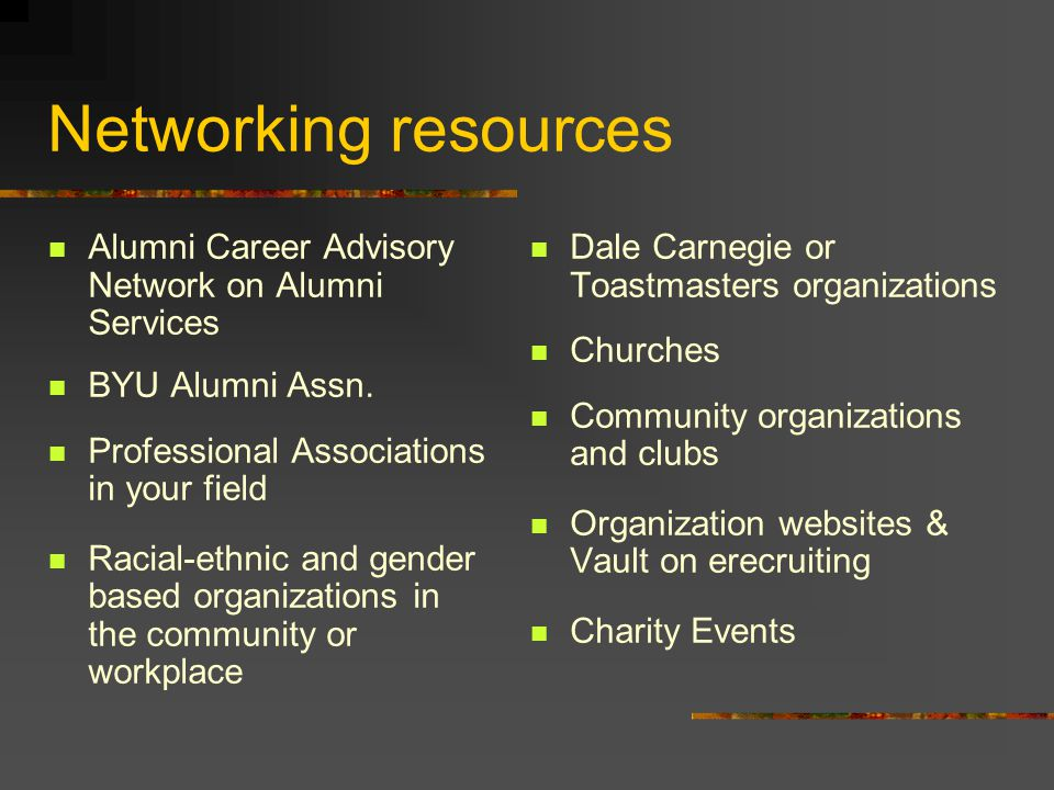 Networking resources Alumni Career Advisory Network on Alumni Services BYU Alumni Assn.