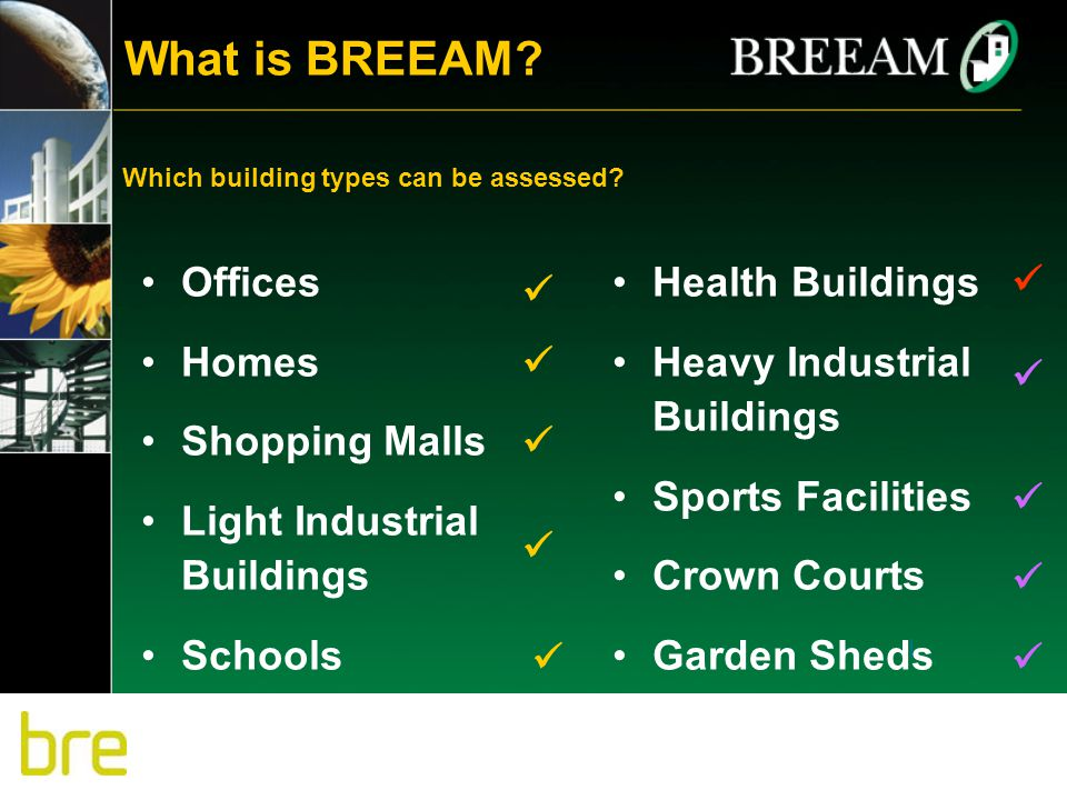 Offices Homes Shopping Malls Light Industrial Buildings Schools Health Buildings Heavy Industrial Buildings Sports Facilities Crown Courts Garden Shed